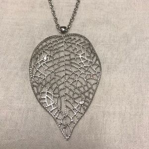 Jewelry - NWOT Long Silver Tone Leaf Necklace